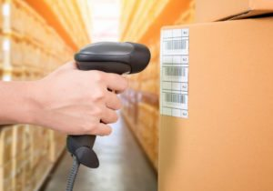 Warehouse inventory label on a box