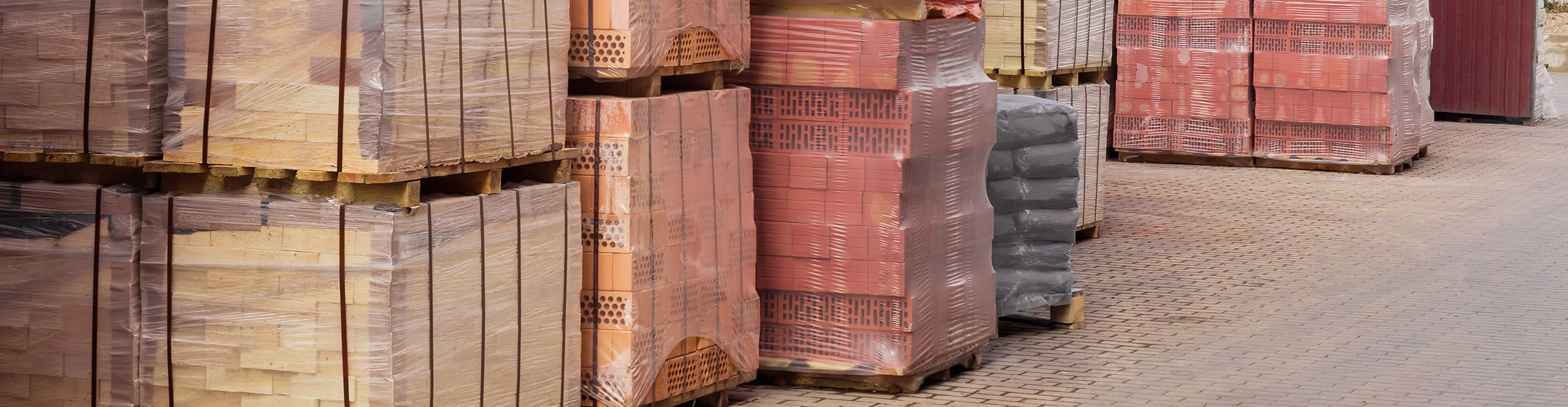 Construction Industry, pallets of bricks.